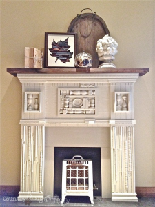scrap wood mantel http://countrydesignstyle.com #DIY #mantel #fireplace
