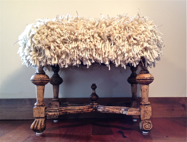 Country Design Style Shaggy Ottoman