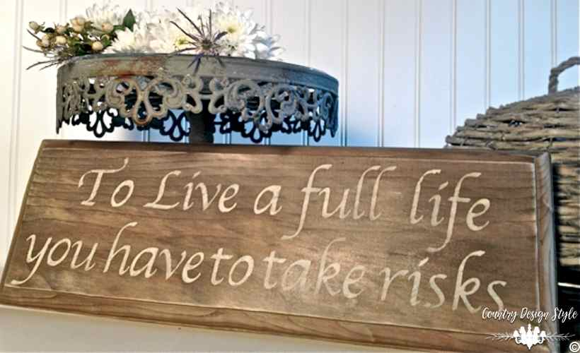 Aging Wood Instantly buffet sign | Country Design Style | countrydesignstyle.com