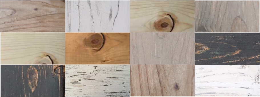 Different types of barn wood create with the base of steel wool and vinegar