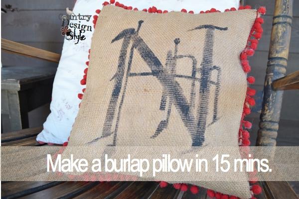 Make a burlap pillow FP