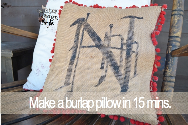 Make a burlap pillow in 15 minutes!