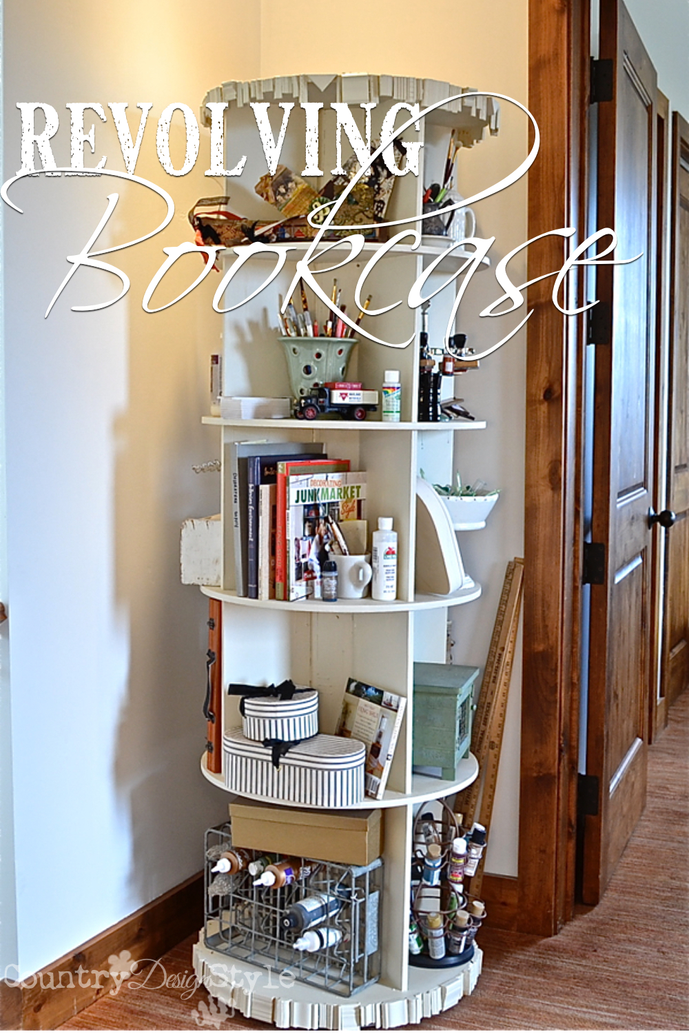 Revolving Bookcase Country Design Style Pn