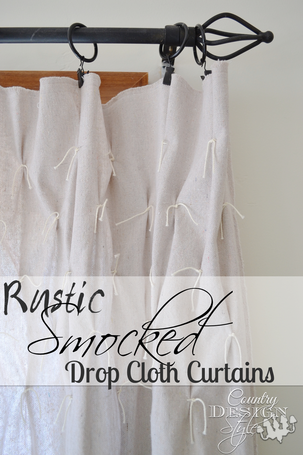 Need inexpensive curtains? Try drop cloth for curtains & add smocking to take the drop cloth look out!!! :) Country Design Style