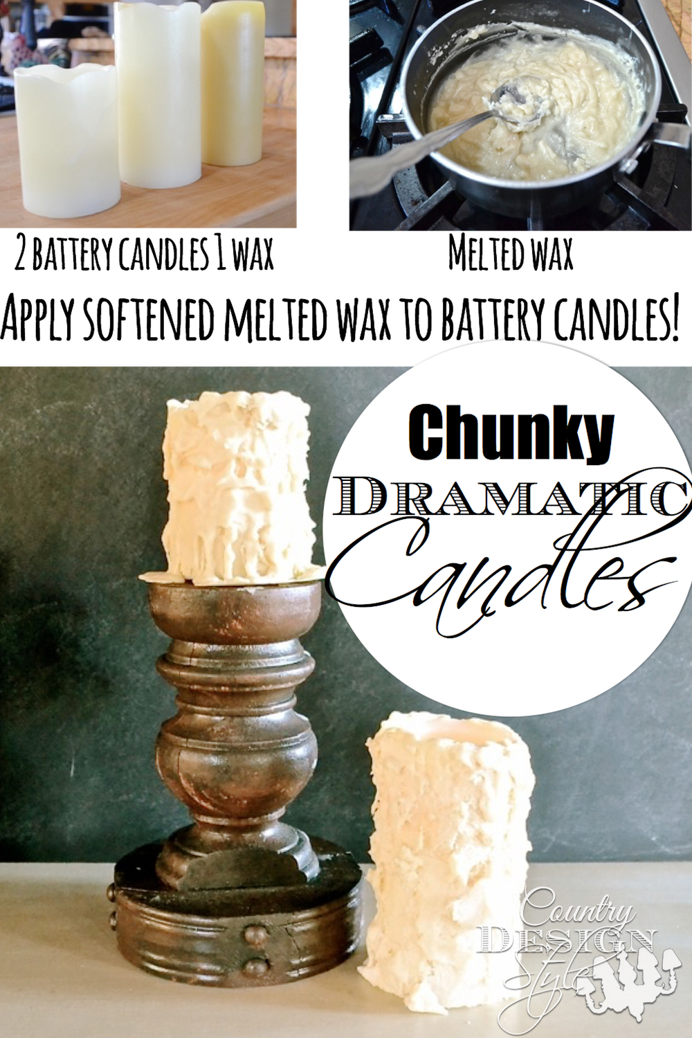 How to DIY apply softened melted wax to battery candles. Fun, easy project. Country Design Style