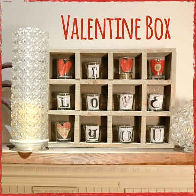 Valentine Box with heart and lettering candle cups