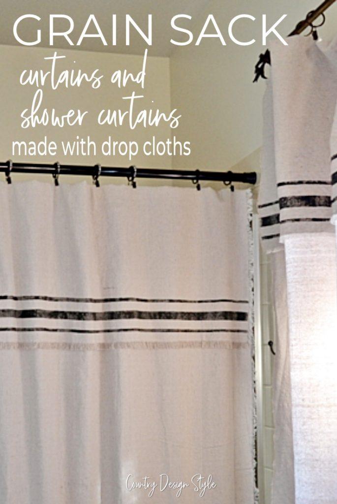 grain sack shower curtain