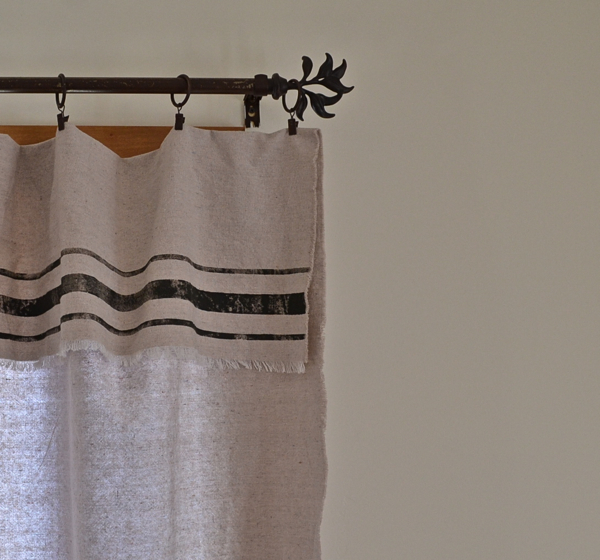 Grain Sack Inspired Curtains in Room