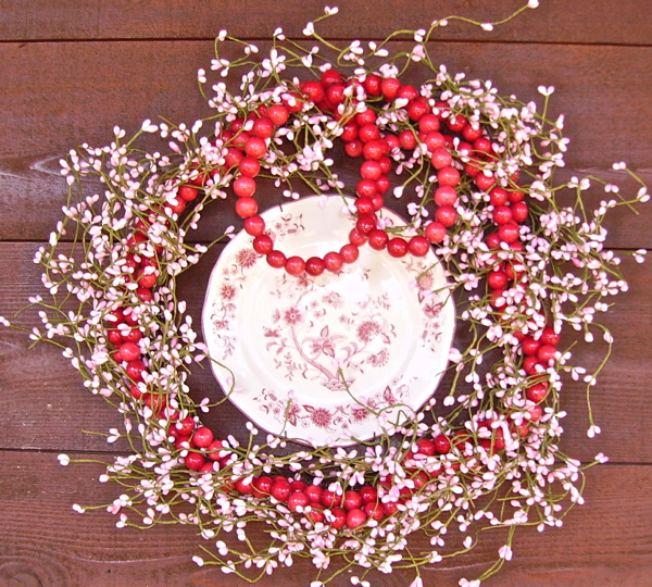 Valentines Wreath with pink beads