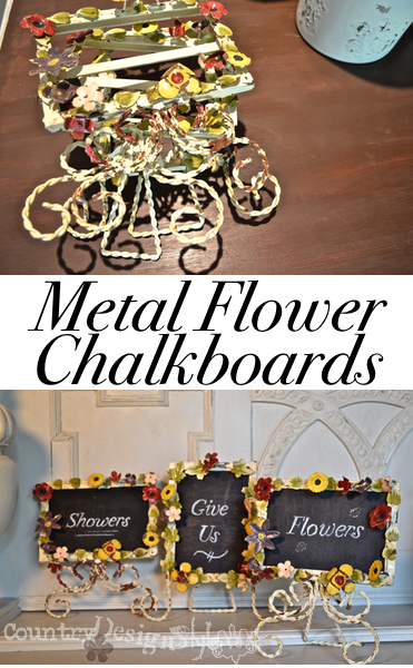 metal flower frames to chalkboards http://countrydesignstyle.com #metalflowers