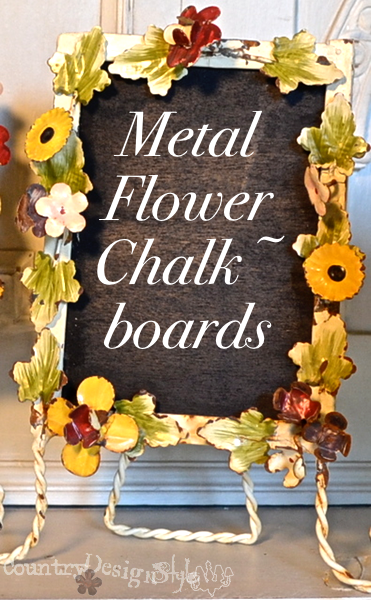 metal flower chalkboards http://countrydesignstyle.com #metalflowers #chalkboards
