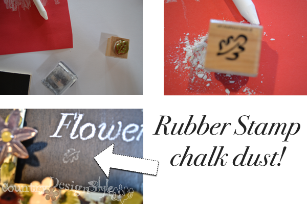 using chalk dust with rubber stamp http://countrydesignstyle.com #chalk #rubberstamp #chalkboards