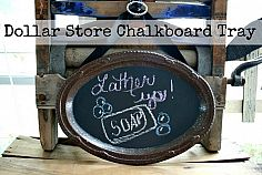 thrift store silver with chalkboard paint