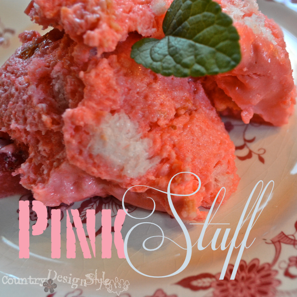 close up of pink stuff a family recipe https://countrydesignstyle.com #recipe #summerdessert #strawberries