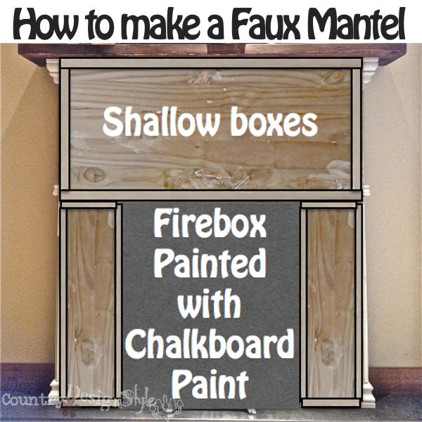chalkboard paint on mantel https://countrydesignstyle.com #fauxmantel #diy #mantel