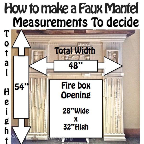 Measurements for faux mantel https://countrydesignstyle.com #fauxmantel #diy #mantel