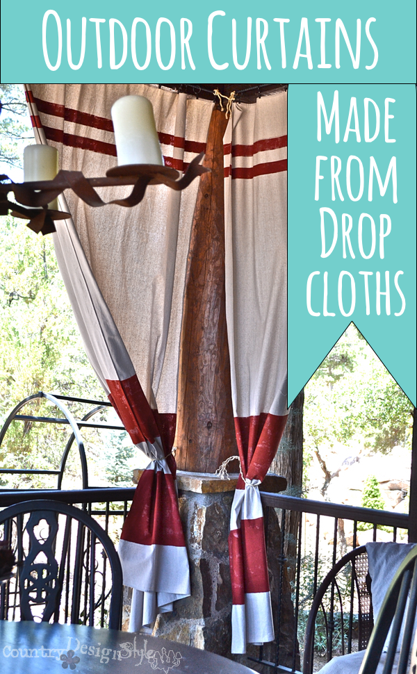 outdoor curtains made with drop cloths https://countrydesignstyle.com #dropcloth #curtains #outdoorcurtains