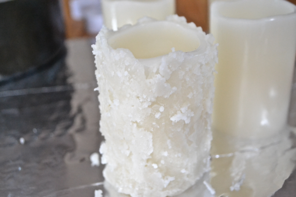 first layer of wax http://countrydesignstyle.com #batterycandles #candles #lighting