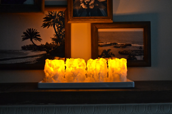 Chunky Battery candles lit https://countrydesignstyle.com #batterycandles #candles #lighting