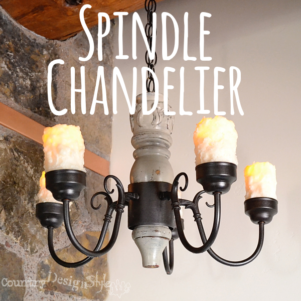Spindle Chandelier https://countrydesignstyle.com #DIY #chandelier #candlechandelier