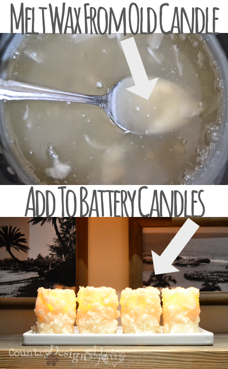 add wax to flameless candles https://countrydesignstyle.com #batterycandles #candles #lighting