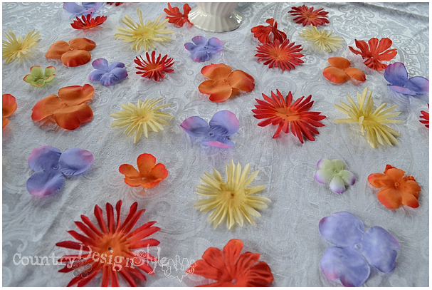 pulled apart http://countrydesginstyle.com #silkflowers #tablescapes #simplepartyideas