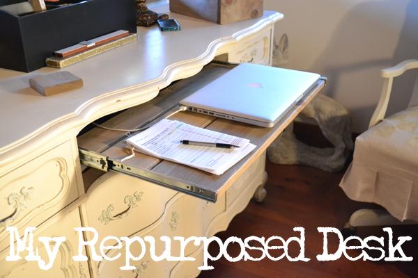 buffet turned desk https://countrydesignstyle.com #repurpose #desk #diy