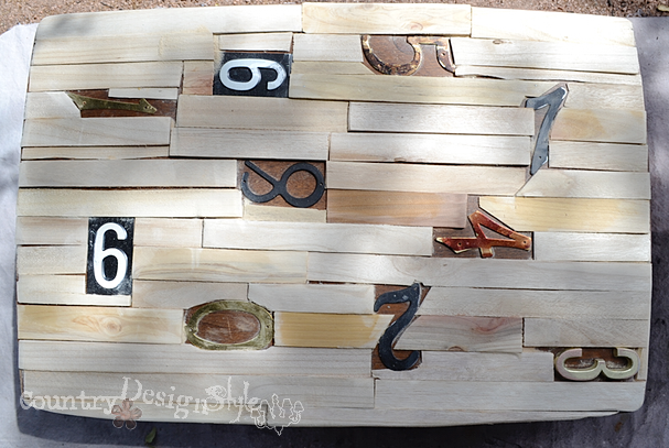 laid out with shims numbered table https://countrydesignstyle.com #repurposedfurniture