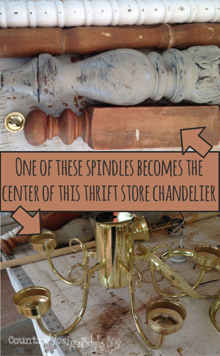 picking spindle for chandelier http://countrydesignstyle.com #DIY #chandelier #candlechandelier