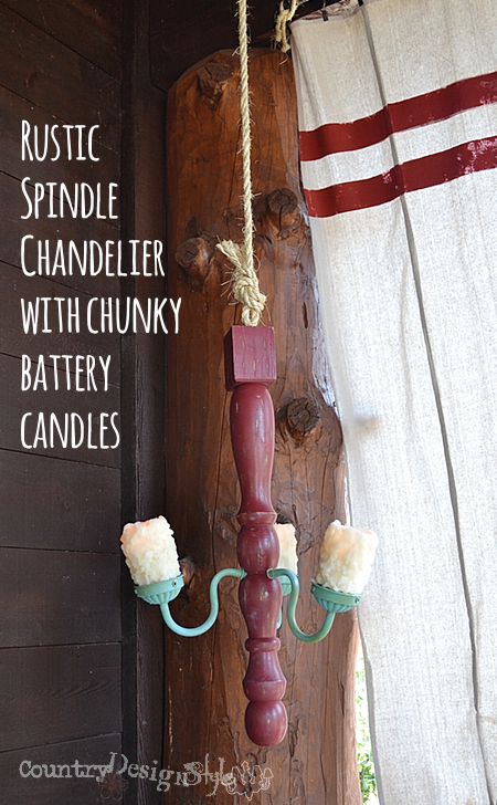 rustic chandelier made with spindle https://countrydesignstyle.com #DIY #chandelier #candlechandelier