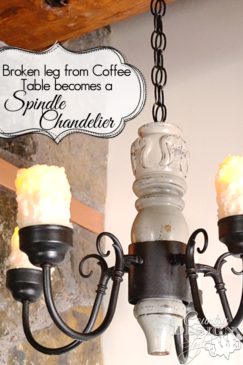 What do you do with a broken leg from a coffee table?  Make a DIY spindle chandelier.  I made to!  Apparently we have a lot of broken furniture!  Country Design Style