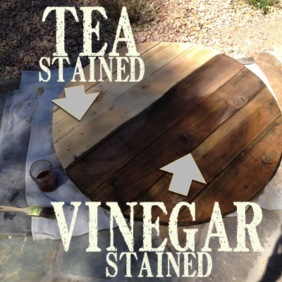 Tea and vinegar stained table top https://countrydesignstyle.com #agingwood #rusticstyle