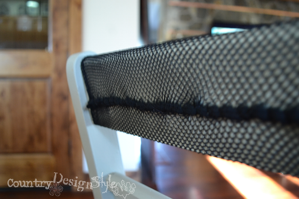 sewing on fishnet http://countrydesignstyle.com