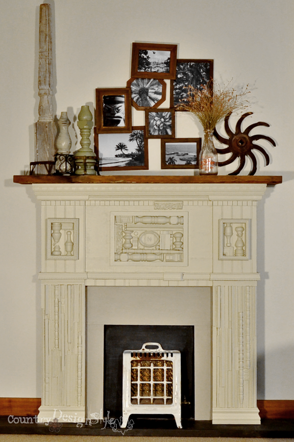 thrift shop finds on the mantel https://countrydesignstyle.com
