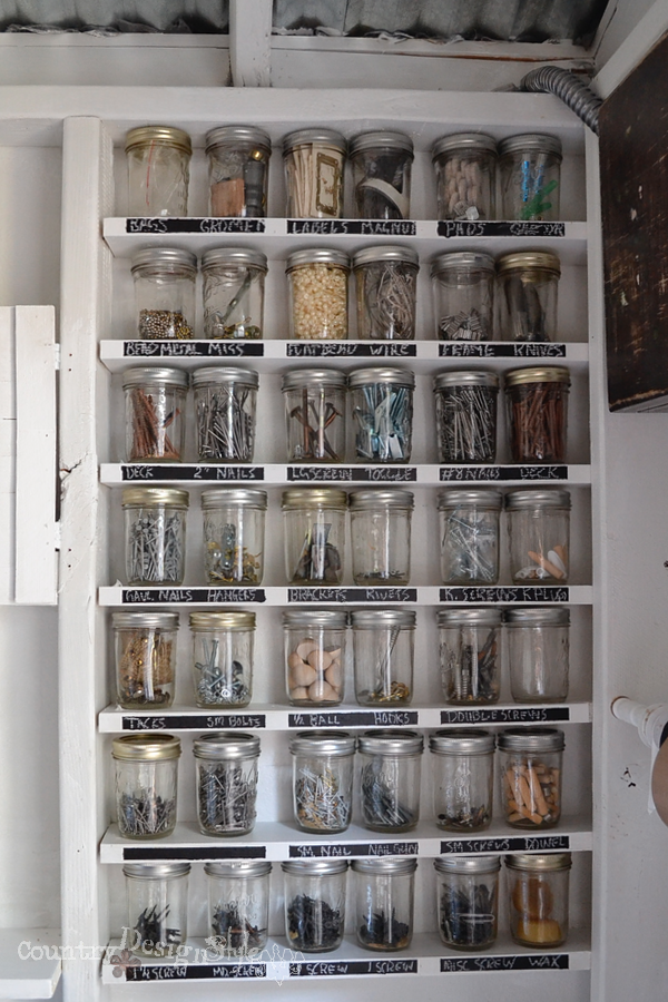 jars organized in workshop http://countrydesignstyle.com
