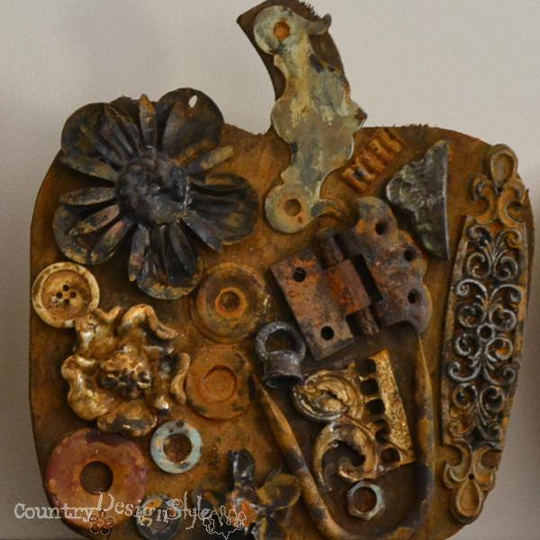 scrap metal pumpkin http://countrydesignstyle.com #pumpkin #fall #junkypumpkin