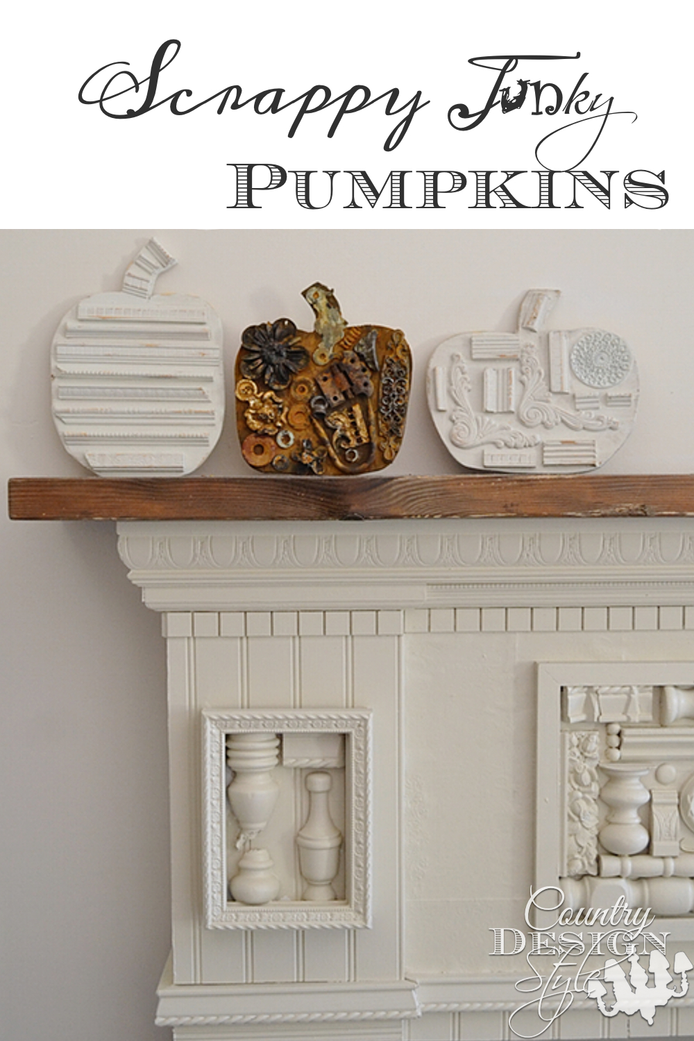 Scrappy Junky Pumpkins made from plywood cutouts and junk sitting on DIY fireplace mantel | countrydesignstyle.com
