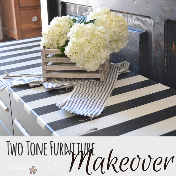 Two tone furniture makeover https://countrydesignstyle.com #furnituremakeover #painting #DIY