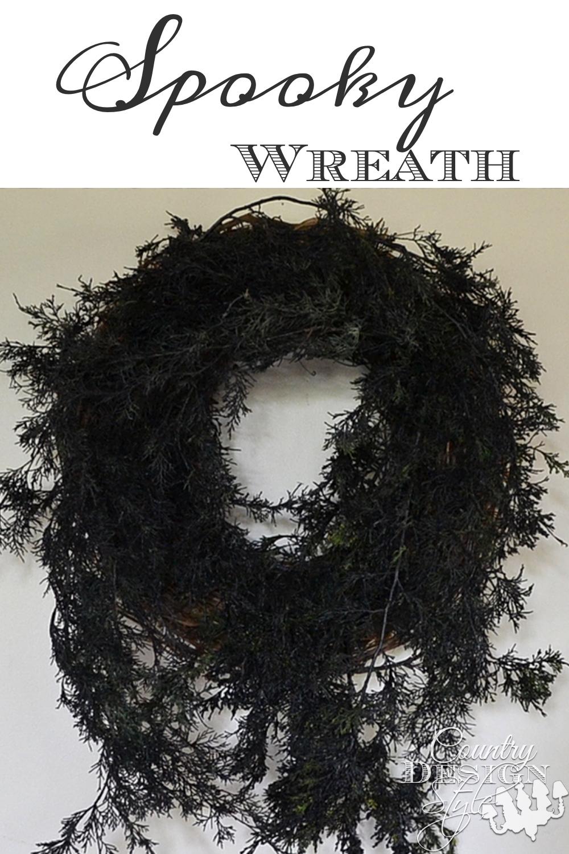 Black spooky wreath DIY made using black spray paint. | countrydesignstyle.com