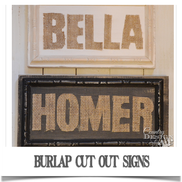 burlap cut out signs country design style fpol