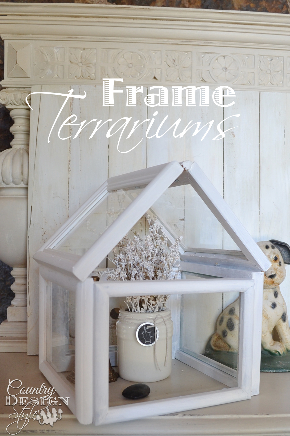 Easy step by step DIY how to make a terrarium using thrift store frames. Country Design Style