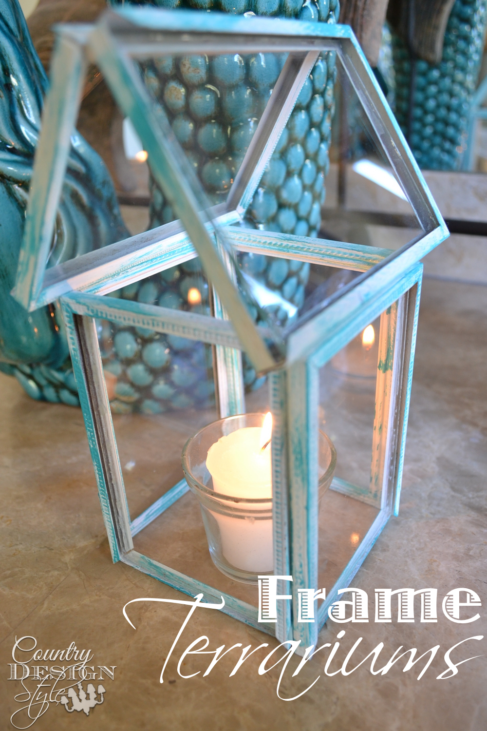 Frame House terrarium made from thrift store metal hinged frames. Easy DIY how to! Country Design Style