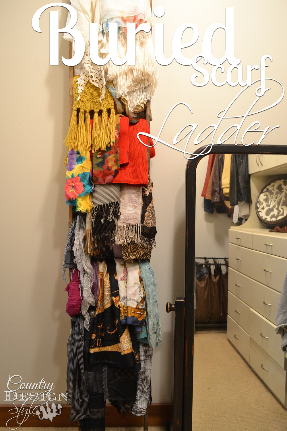 scarf ladder buried in scarves.  Easy DIY project. Country Design Style