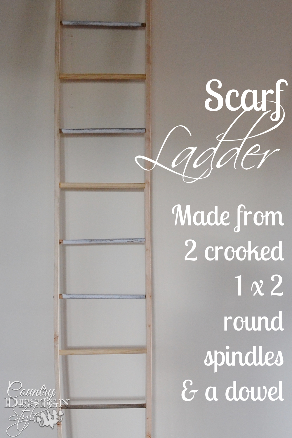 Spindles from broken chairs are added between to 1 by 2 boards for a decorative ladder. Perfect for hanging wreaths. How to diy project details on the website. Country Design Style