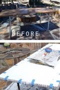 Distressed metal table | Furniture makeover | Folding metal table update | rope trim |