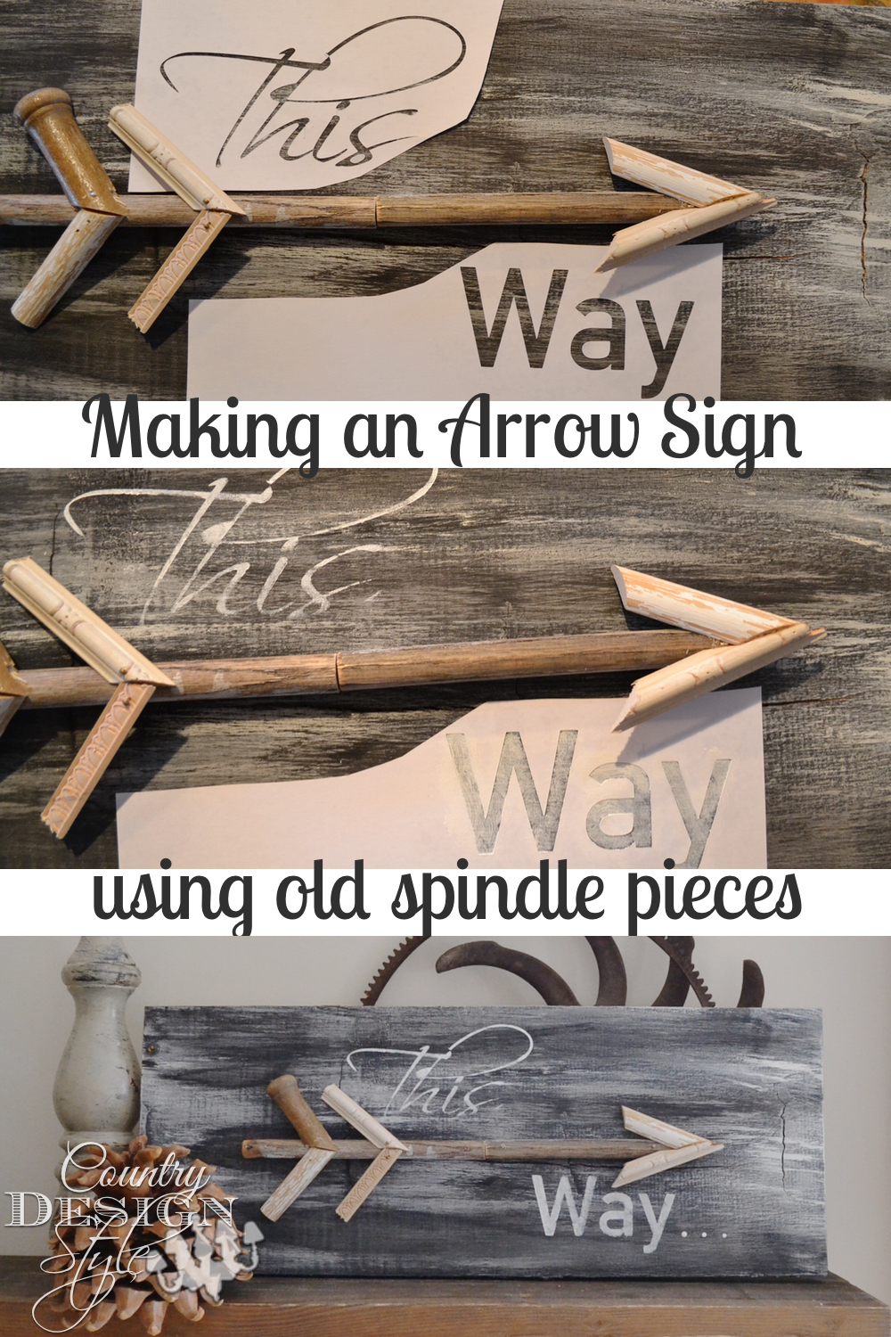 Making an Arrow Sign using old spindle pieces and stencils. Easy DIY project. Country Design Style