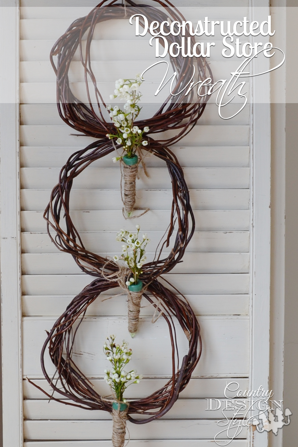 A deconstructed dollar store wreath in 15 minutes. Have you ever bought floral water picks? They are inexpensive and a must have for all you DIY decor. Country Design Style