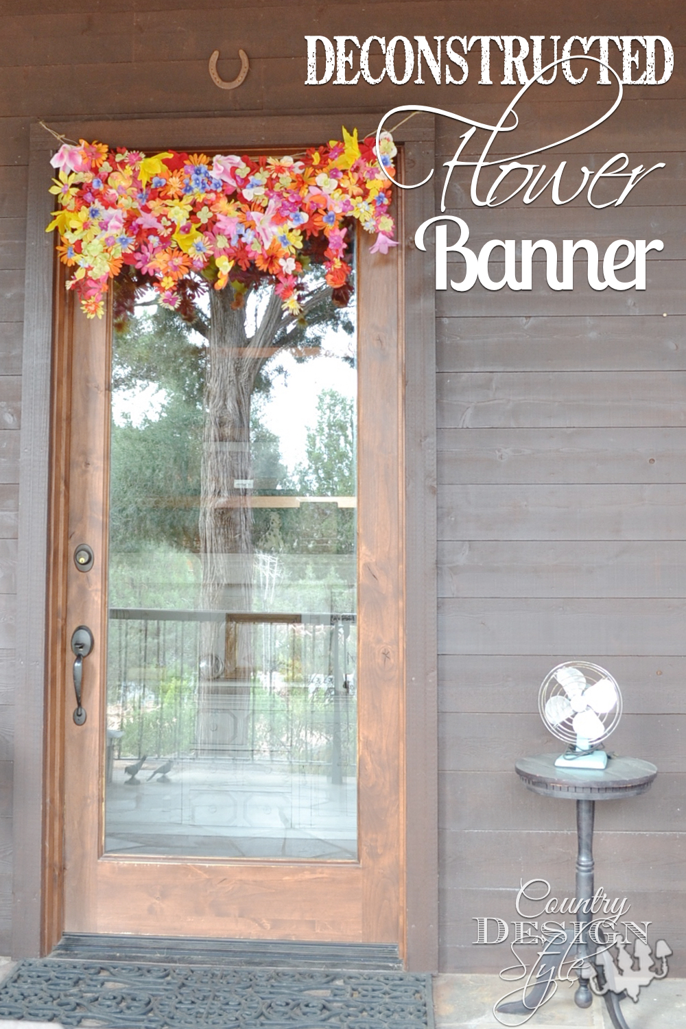 Deconstructed flower spring banner. Easy diy project and fun for the kids to help. County Design Style