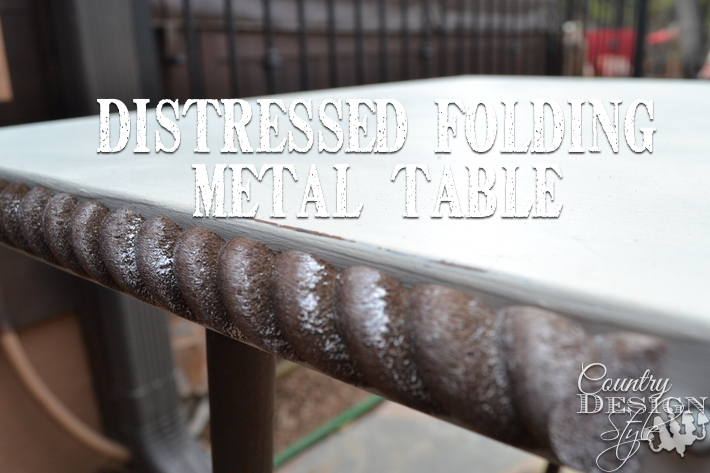 Distressed Metal Folding Table