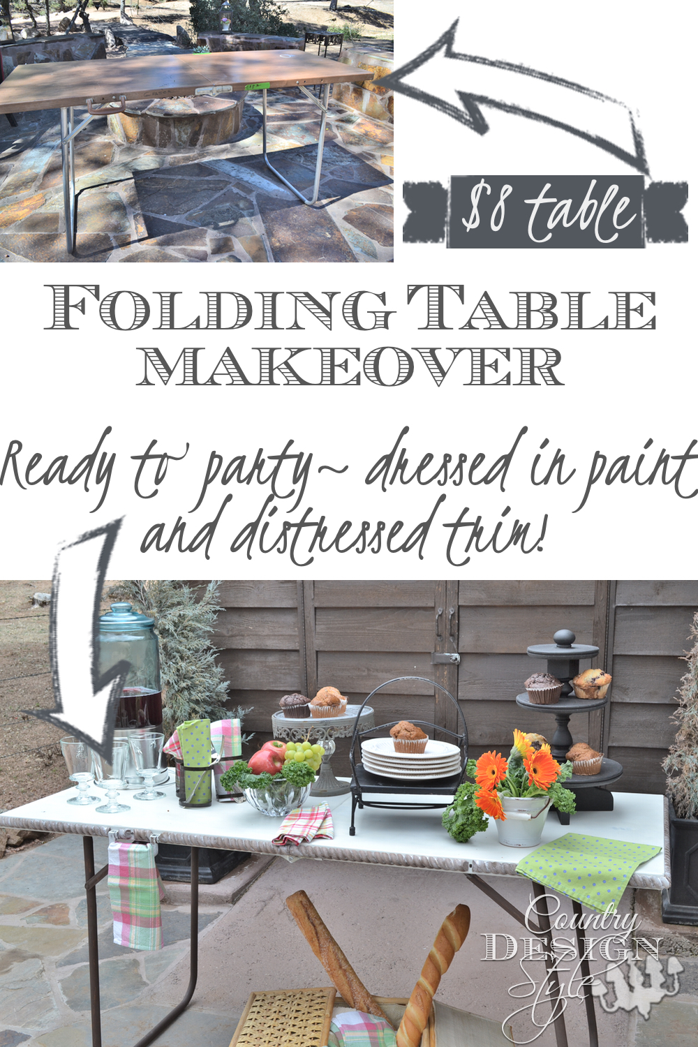 Folding table makeover, DIY painting with chalky paint added distress wood trim. Country Design Style